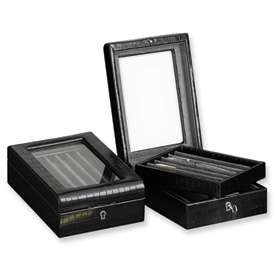 Nice New Black Leather Pen Display Box Office Accessory