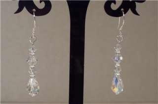Sterling Silver AB Swarovski Crystal Briolette Earrings