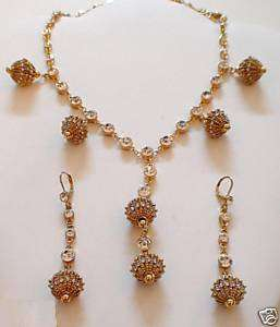 SUZANNE SOMERS CAGED BALL DANGLES W/CRYSTALS NECKLACE EARRINGS SET