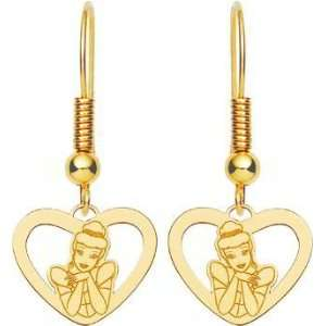 Gold Plated Sterling Silver Disney Princess Cinderella Heart Dangle