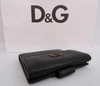 BN Dolce & Gabbana Black D&G logo Leather Wallet Bag Purse   Rare