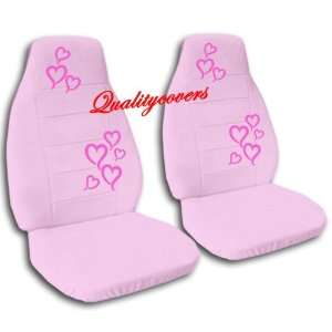 2 sweet pink car seat covers with hot pink hearts for a