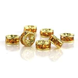 100 Pcs Swarovski Crystal Rondelle Spacer Bead Gold Plated 6mm