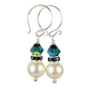 Tanzanite Swarovski Crystal Pearl Earrings   1 Inch Damali Jewelry
