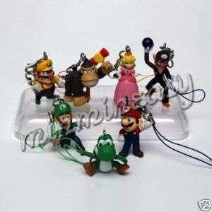 Nintendo Super Mario Figure KeyChain Charm Ring x 7pc
