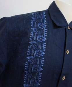 TOMMY BAHAMA 100% Linen Navy Blue Awesome Embroidered Mens Camp Shirt