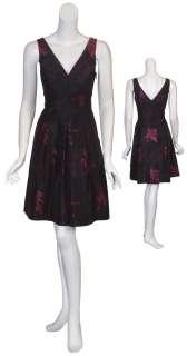 ELIE TAHARI Plum Brocade Pleated Silk Eve Dress 12 NEW