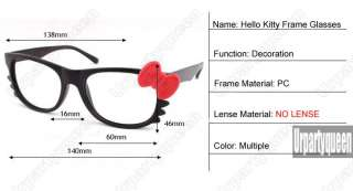 HelloKitty Red Bowknot White Frame No Lense Glasses Cute Home Girl