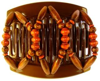 African Butterfly Hair Clip Thick Brown Comb Beada A01