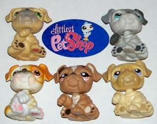 LPS BULLDOG PUPPY DOG LOT~#46 135 107 446 607~Littlest Pet Shop T32