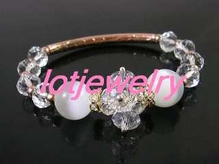 wholesale 24pcs Crystal cat eye beads stretchy copper bracelets