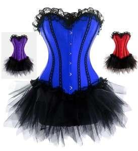Burlesque Lace Corset Moulin Rouge Fancy Dress Outfit