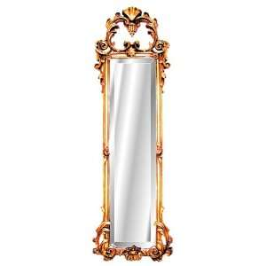 Ornate Antique Gold Strip Wall Mirror