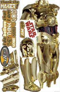 C3P0 WALL DECALS Classic Star Wars Movie C3PO Stickers 034878937755
