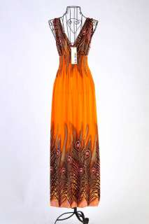 Exotic Peacock Feather V neck Beach Bohemia Long Dress D59#