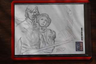 DAVID GREEN 2012 STAR WARS GALAXY 7 SKETCH LUKE + LEIA 1/1