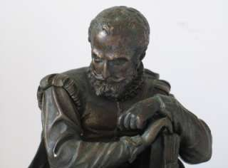 Antique Bronze Statue Cervantes Author of Don Quixote c.1890