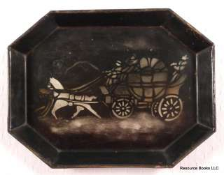 1950s HITCHCOCK CHAIR CO. STENCIL TOLE TRAY w HORSE & STAGECOACH