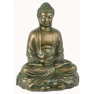 Buddha in Meditation on Lotus Sculpture, 11.5H
