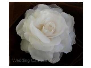 inch IVORY Silk Rose Wedding Bridal Hair Flower Clip