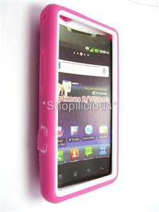 VS840 HYBRID IMPACT HeavyDuty HARD CASE COVER+STAND PINK WHITE