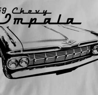 Chevy Impala 1959 Classic GRAY Chevrolet Car T Shirt XL