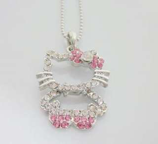 Small hello kitty Pink bow necklace for child gift L16