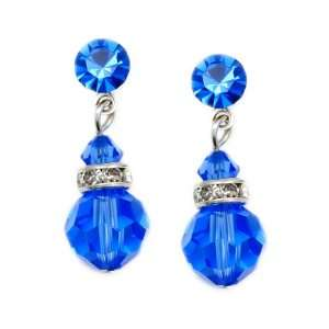 Sapphire 8mm Swarovski Crystal Drop Earrings    Made In USA Jewelry