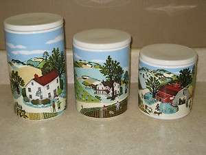 Avon Exclusive Pfaltzgraff Country Farm 3 Canister or Cookie Jar Set