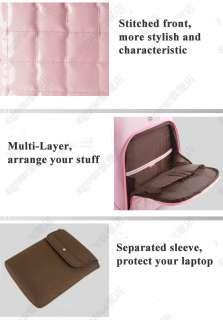 PU Leather Women Shoulder Bag Backpack w/ Sleeve & Lock for 13 14