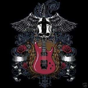 SKULL GUITAR WINGS ROSES BIKER TATTOO T SHIRT NEW