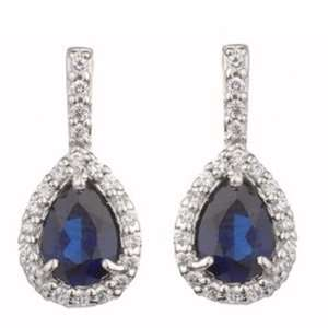 2.20 Ct Pear Shape Sapphire Diamond White Gold Earrings