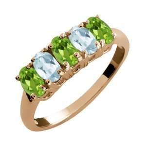 Oval Green Peridot and Sky Blue Aquamarine 14k Rose Gold Ring Jewelry