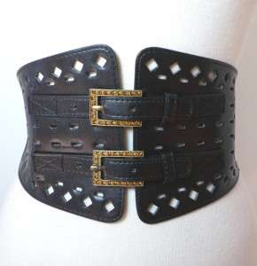 NEW SEXY WIDE DOUBLE CRYSTAL BUCKLE CINCH CORSET BELT