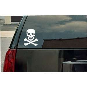Skull and Bones Pirate Logo Vinyl Decal   White Window