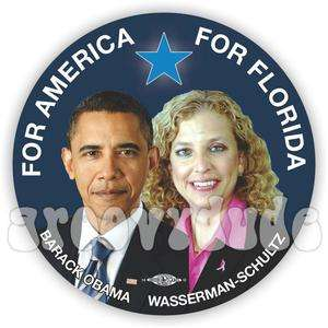 President Barack OBAMA Wasserman Schultz 2012 Campaign Button Pin