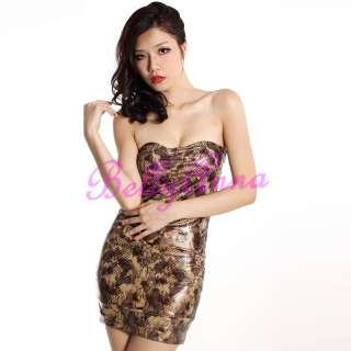 Sexy Leopard Prints Strapless Evening Club Cocktail Party Mini Dress