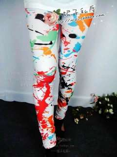 New Fashion Women Sexy Color Graffiti Style Soft Stretchy Leggings