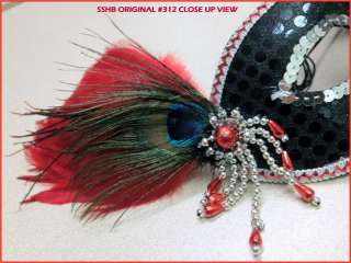 SSHB Original Hand Crafted Blood Red/Black Moon Feather Masquerade