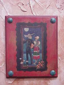 of the Dead Mexican Folk Art Red Panel #3 10x12 in Serenata Serenade