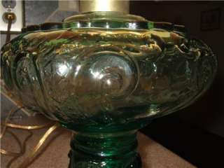 Green Glass Hurricane Oil Lamp Converted to Electric