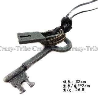 men women unisex charm choker Key Lock pendant leather necklace