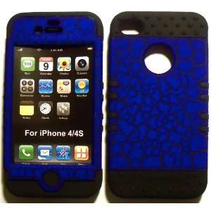 Blue Egg Crack on Black Silicone for Apple iPhone 4 4S Hybrid 2 in 1