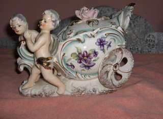 Vintage Royal Sealy China Porcelain 2 Pc Trinket Jewelry Box Cherubs