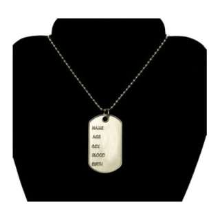 Soldier Dog Tags Chain Necklace Military Metal Costume Jewelry