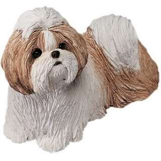 GOLD SHIH TZU DOG STATUE REPLICA FIGURINE SCULPTURE