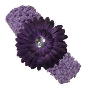 Lavender Crochet Headband with a Purple Daisy Flower