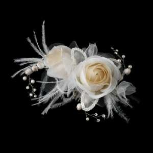 Ivory & Rum Pink Flower Feather Bridal Hair Comb