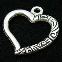 15Pcs Tibetan silver crafted open heart charms #143A
