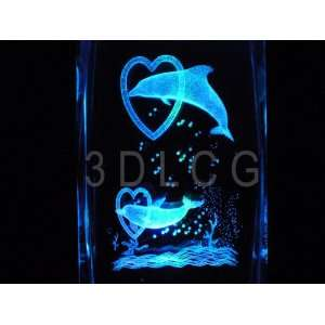 Dolphins with Hearts 3D Laser Etched Crystal Everything Else
